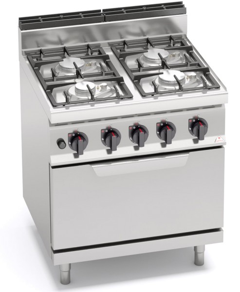 Gastronomie Gasherd mit Gasbackofen 4 Flammen und Pilotflamme 29,3kW