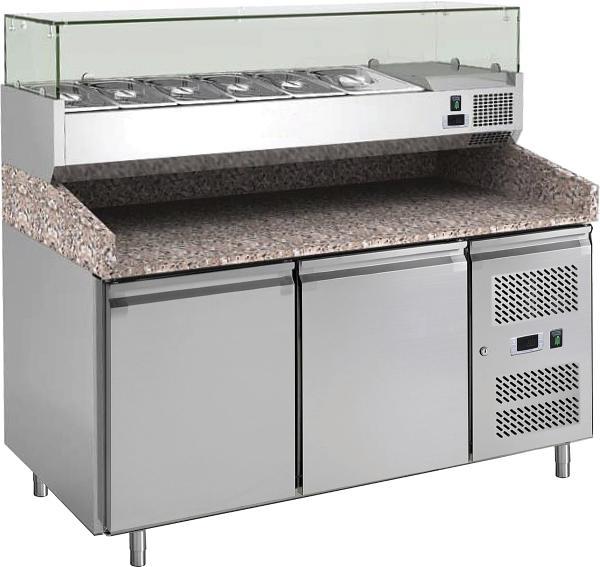 Pizzakühltisch mit Kühlaufsatz für GN1/4