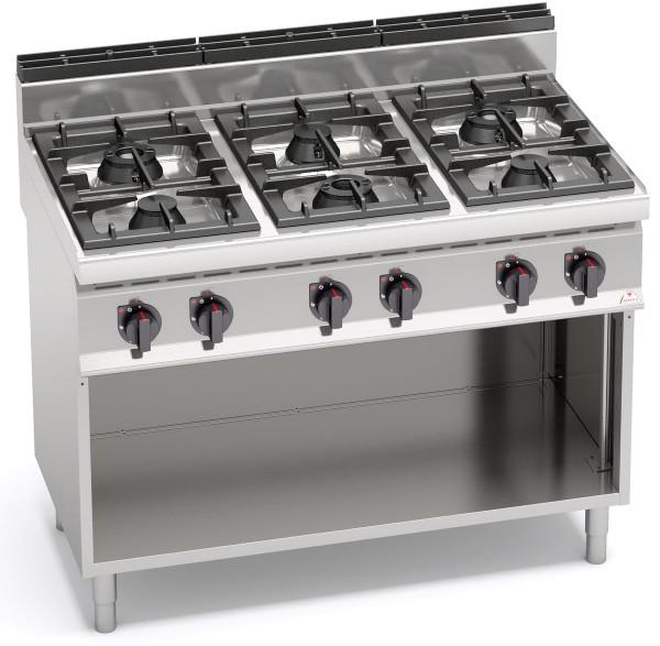 Gastronomie Gasherd 6 Flammen Leistung 42kW MAX POWER 6x 7kW