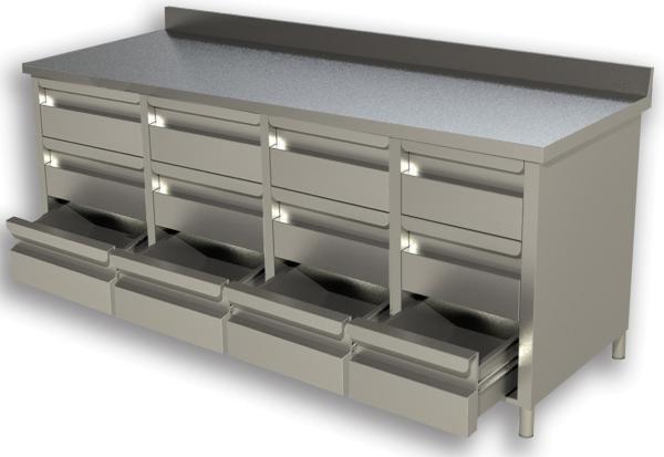 Gastro Schubladenblock  Edelstahl mit 4 x 3 Schubladen und Aufkantung B 2000 x T 600 x H 850 mm