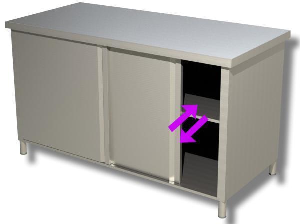 Gastro Durchreicheschrank aus Edelstahl mit Schiebetüren B 1500 x T 600 x H 850 mm