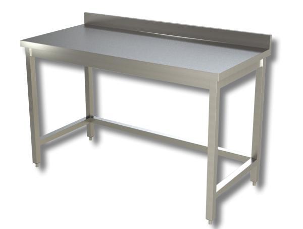 Gastro Arbeitstisch Edelstahl mit Boden und Aufkantung B 800 x T 600 x H 850 mm