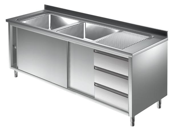 Gastro Spülschrank Edelstahl 2 Becken links mit 3 Schubladen  B 2000 x T 700 x H 850 mm