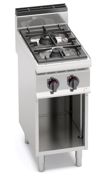 Großküchen Gasherd14kW Standgerät mit 2 Brenner Max Power Leistung 2x 7kW