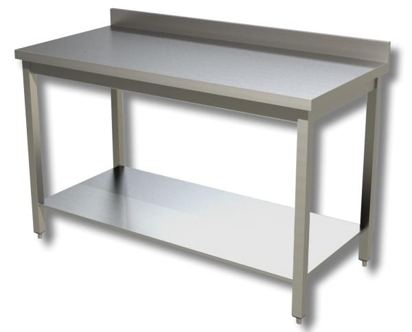 Gastro Arbeitstisch Edelstahl mit Boden und Aufkantung B 1300 x T 700 x H 850 mm