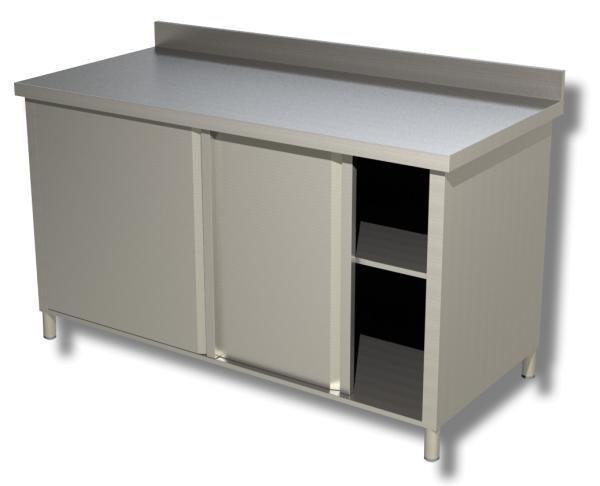Gastro Arbeitsschrank aus Edelstahl mit Schiebetüren und Aufkantung B 1400 x T 600 x H 850 mm