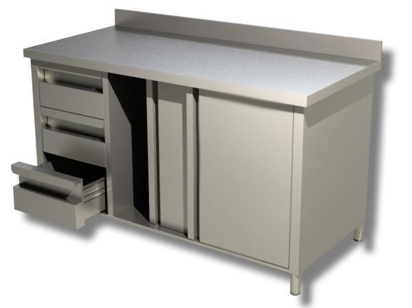 Arbeitsschrank Edelstahl 3 Schubladen links, Schiebetüren und Aufkantung B 1600 x T 700 x H 850 mm