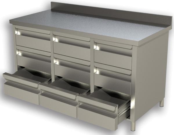 Gastro Schubladenblock  Edelstahl mit 3 x 3 Schubladen und Aufkantung B 1600 x T 600 x H 850 mm