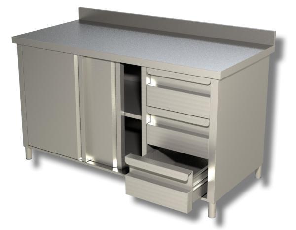 Arbeitsschrank Edelstahl mit 3 Schubladen rechts, Schiebetüren und Aufkantung B 1600 x T 600 x H 850 m