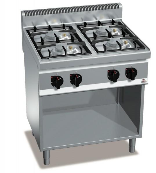 Bertos Großküchen Gasherd 4 Flammen Standgerät Eco Power 21,5kW