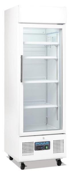 Gastronomie Getränkekühlschrank 368 Liter mit Glastür aus Stahlblech weiß