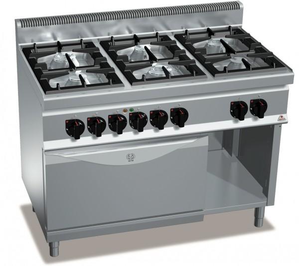 Gastronomie Gasherd mit Elektrobackofen Gas 31,5kW und E-Ofen 380V/ 7,5kW