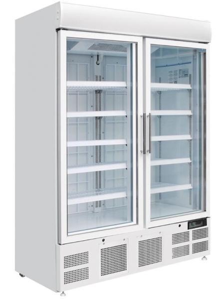 Gastronomie Gefrierschrank 950 Liter mit Glastür aus Stahlblech weiß
