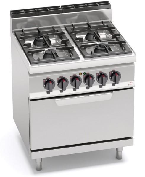 Gastronomie Gasherd mit 4 Brenner und Elektro Backofen Serie HIGH-POWER mit 21kW