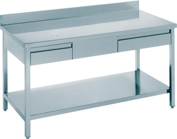 Gastro Arbeitstisch Edelstahl mit 2 Schubladen und Aufkantung B 1400 x T 700 x H 850 mm