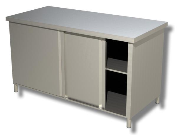 Gastro Arbeitsschrank aus Edelstahl mit Schiebetüren B 1500 x T 700 x H 850 mm