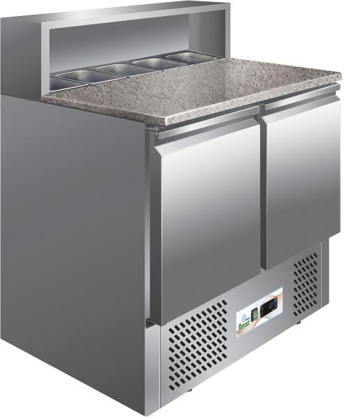 Pizza-Kühltisch zwei Türen mit Granit-Arbeitsplatte und Belegstation für 5x GN 1/6