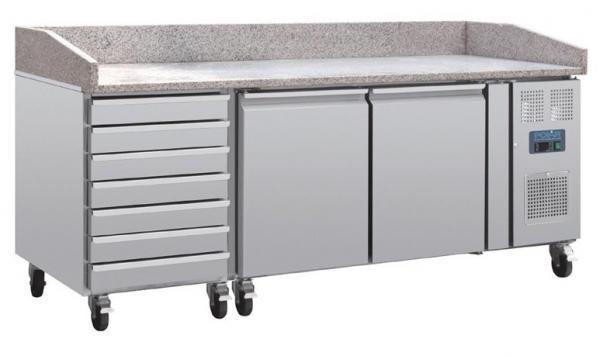 Pizzakühltisch 2 Türen und 7 Schubladen mit Granit Arbeitsplatte für Pizzeria