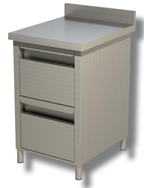 Gastro Schubladenblock  Edelstahl mit 2 Schubladen und Aufkantung B 500 x T 700 x H 850 mm