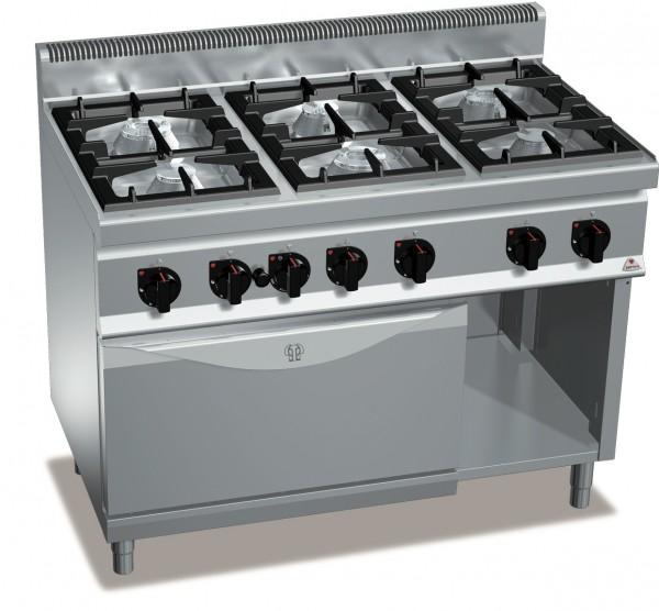 Gastronomiebedarf Gasherd mit Gasbackofen MAX POWER 49,8kW