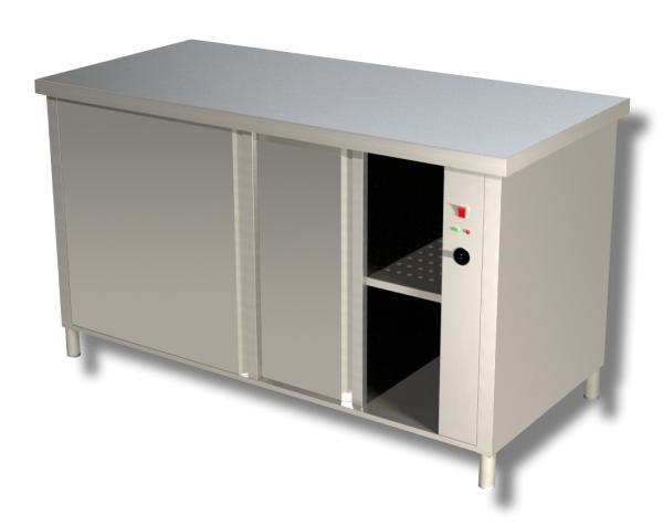 Gastro Wärmeschrank aus Edelstahl mit Schiebetüren B 1400 x T 600 x H 850 mm