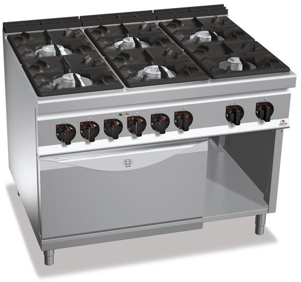 Professionelle Gastronomie Gasherd 6 Brenner mit Elektrobackofen 7,5kW und Gas 53,5kW HIGH POWER