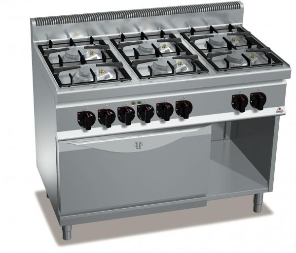 Gasherd mit 6 Flammen und Elektro Backofen Serie ECO-POWER Gastrotecno