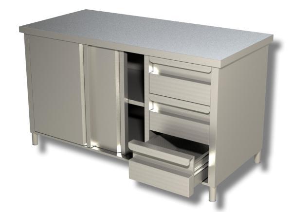 Gastro Arbeitsschrank aus Edelstahl mit 3 Schubladen rechts und Schiebetüren B 1400 x T 600 x H 850 mm