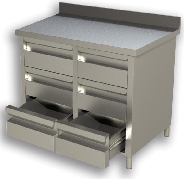 Gastro Schubladenblock Edelstahl mit 2 x 3 Schubladen und Aufkantung B 1000 x T 600 x H 850 mm