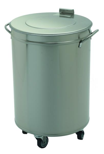 Gastro Abfalleimer Edelstahl mit Deckel 50 Liter