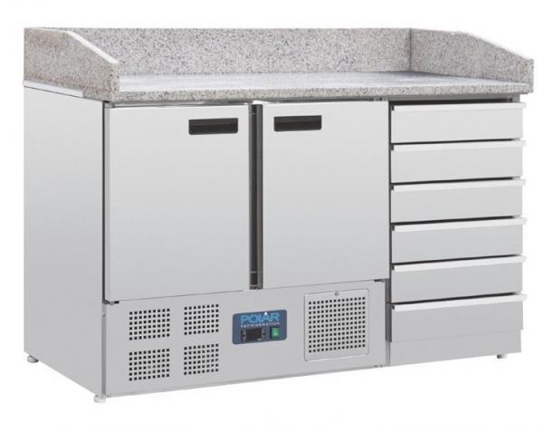 Pizzakühltisch 2 Türen und 6 Schubladen mit Granit Arbeitsplatte für Pizzeria